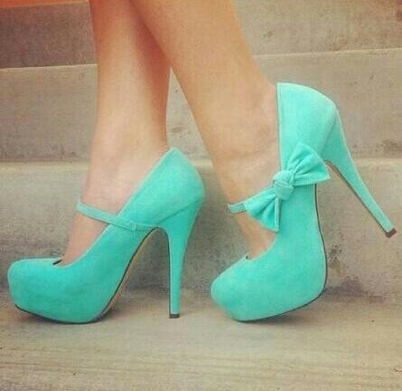 Tiffany blue heels with bow strap