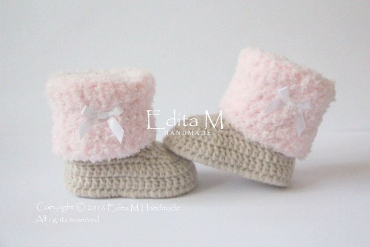 Crochet baby booties, baby shoes, baby girl shoes, light tan, pink, white satin bow, winter boots, baby shower gift, newborn, gift idea