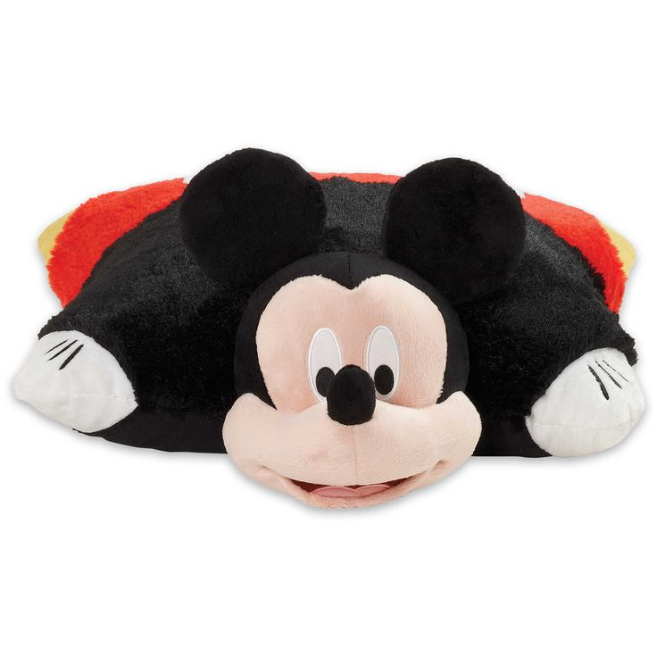 "Disney's first original character! whether you're a collector or just plain Crazy about this fellow, everyone loves Mickey.  100% polyester.  Official Pillow Pet.  Opens to a comfy 16"" pillow.  Super"