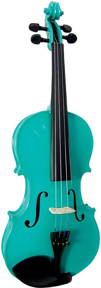 Blue Moon VG-102 Green Violin, 4/4 size. Green finish violin outfit, Solid spruce top, maple body  at Hobgoblin Music USA