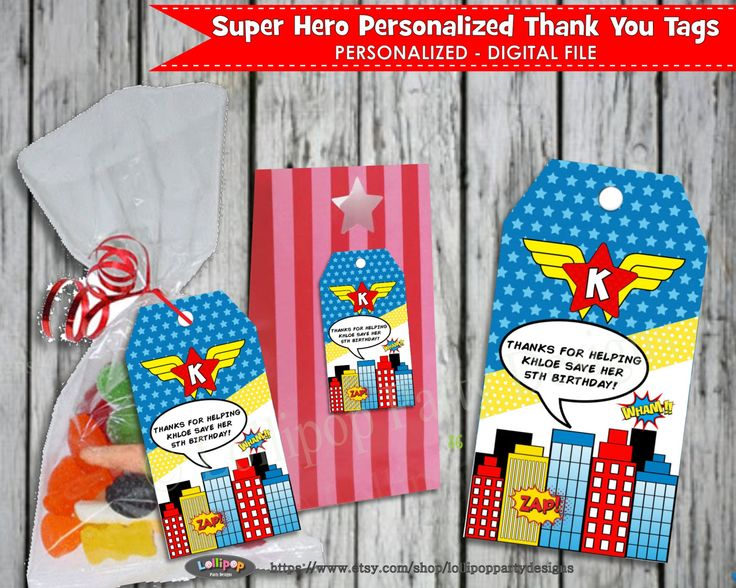 SUPER HERO Thank you Tags Personalized Printable Favor Loot Bag Tags Labels Digital File Thank You Labels Girls Birthday Party Party by LollipopPartyDesigns on Etsy