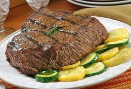 According to the U.S. Department of Agriculture, Americans eat an average of about 56 pounds of beef each year. In terms of preparation, there are four primary cuts of beef, each of which indicate the best method of cooking: chuck, loin, rib and round. A 7-bone steak is another name for a center cut chuck roast or pot roast, which is taken from...