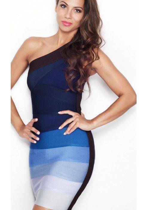 'Electra' Blue Gradient One Shoulder Bandage Dress - Celeb Style Dresses - Dresses