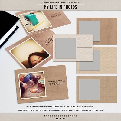 [MY LIFE IN PHOTOS 4X6 photo templates by three paper peonies, free] perfect ft for any 4x6 album and can use it to print out cellphone app pictures.