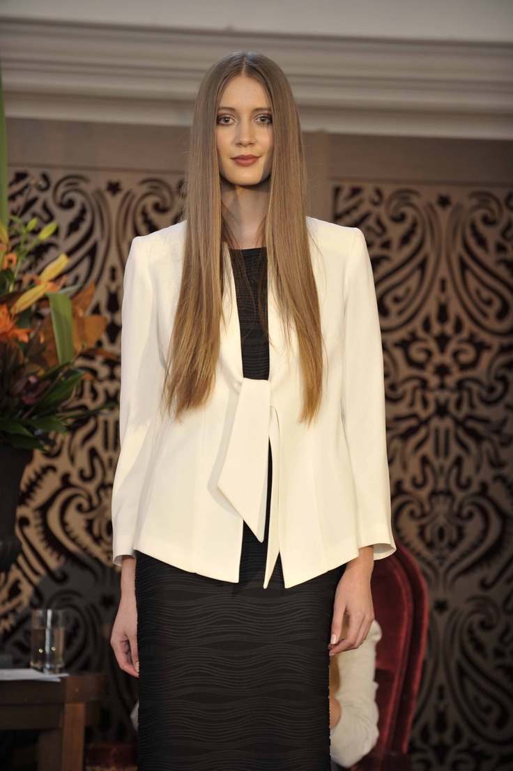 Trend: Black and White  Model wears #Blooms jacket & dress and Siren at Freelance Shoes t-bar heels.   #qvb #white #blazer #monochrome