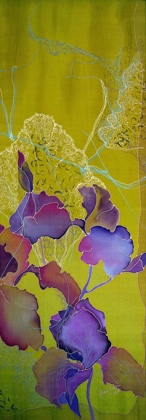 Painting on silk Original Artwork Woman Butterflies Irises Flowers Exclusive gift Hand Painted Silk