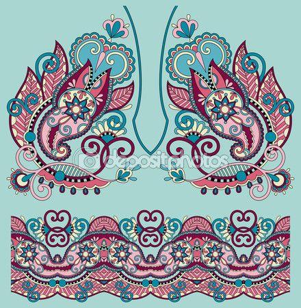 diseño de moda escote adornado bordado floral de paisley, ukrain — Ilustración de stock #54726321