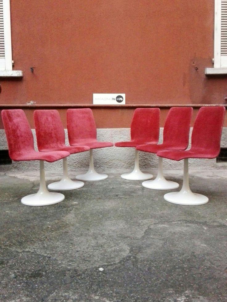 Set di 6 sedie con base a tulip in velluto  Ottime condizioni generali Tessuto originale 1970 #magazzino76 #viapadova #Milano #nolo #viapadova76 #M76 #modernariato #vintage #industrialdesign #industrial #industriale #furnituredesign #furniture #mobili #sofas #poltrone #modernfurniture #sedie  #solocoseoriginali #madoveletrovi #danishchairs #velluto #nuoviarrivi #tulip #chairs  #perfettamenteconservate