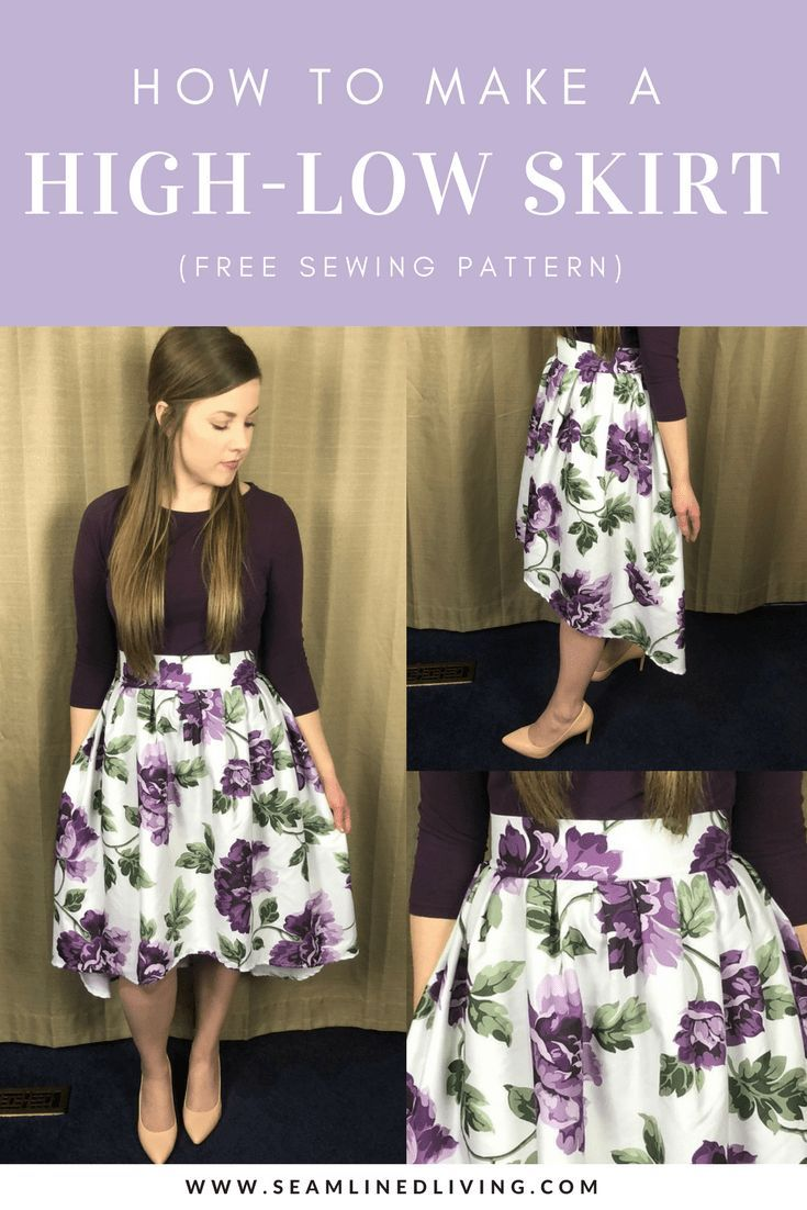 How to Make a High-Low Skirt - Shower Curtain Refashion - Seamlined Living #sewing #sewingpattern #sewingtutorial #refashion #goodwill #thriftstorefind