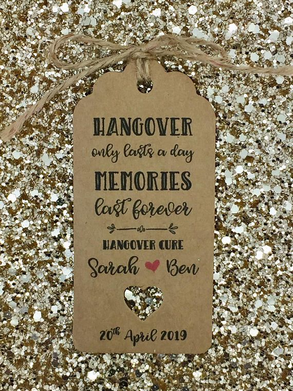Handmade personalised hangover kit gift tags with a string (packed separately) The tag size is 9.5cm*4.5cm / 300gsm card The sample tag is not personalised Personalised with a BRIDE & GROOM NAMES the rest will be the EXACT DESIGN/ WORDING as in the pic DOUBLE SIDED TAGS ARE ALSO