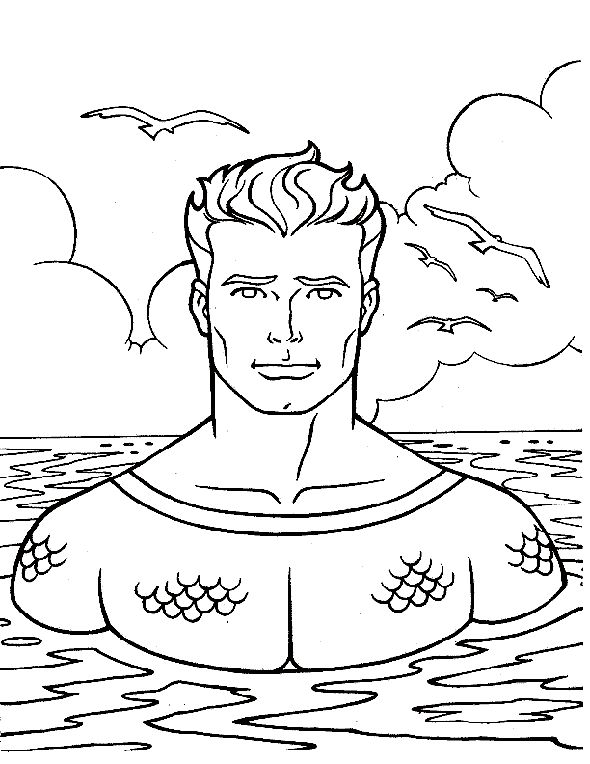 aquaman staring smiling | coloring pages, coloring books