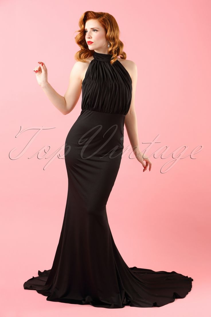 In this 50s Hailey Halter Maxi Dress you're a red carpet queen, just like Marilyn!All eyes will be on you, because you're irresistible when wearing this black beauty! The curve hugging skirt with fishtail is amazing on its own, but the fully pleated halter style top and open back ensures a true million-dollar-look, wow! Made from a light stretchy, shiny black fabric, fully lined and finished off with sparkling stones on the closure of the halter neck, what else can a diva dream of? With...