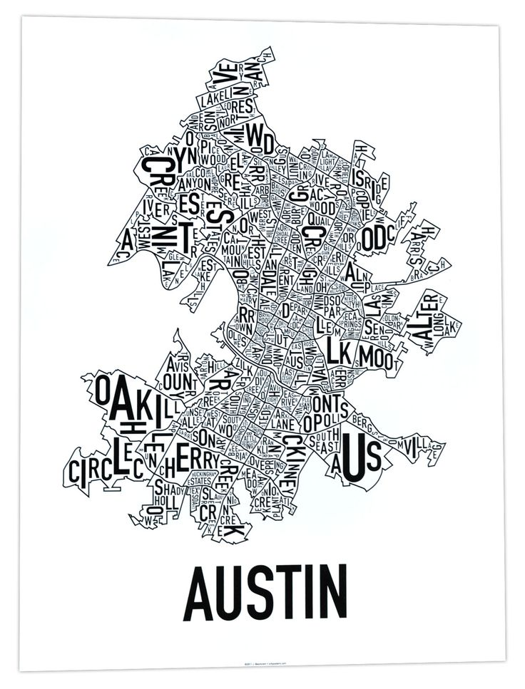 "Keep Austin somewhat normal with this classic, modern black and white poster. 18"" x 24"" typographic map of the neighborhoods within the city limits of Austin. The letters of each neighborhood name are twisted and turned to fit inside the area of the neighborhood.  Ork Posters uses only the highest quality of print methods. This poster is offset printed which offers a sharp and clean print, saturated colors, and archival properties to be sure the colors won't fade over time. Eco-friendly, ..."