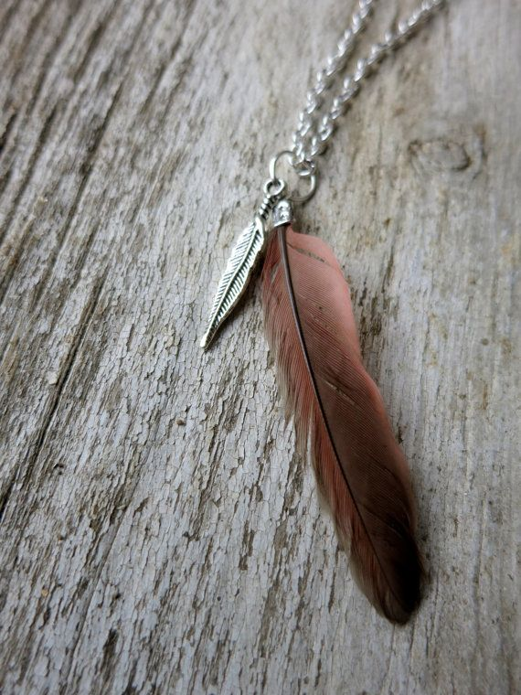 Lucky Cardinal Feather Necklace by GeminiSummer on Etsy