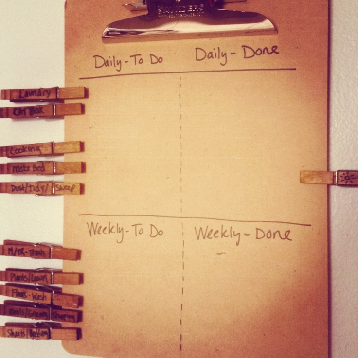 couple friendly chore board all you need are clothespins a clipboard and a sharpie. Black Bedroom Furniture Sets. Home Design Ideas