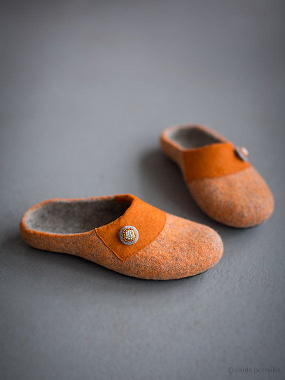 Women house shoes   Felted slippers   Rustic style   Beautiful orange and grey wool slippers by FeltStudioVART