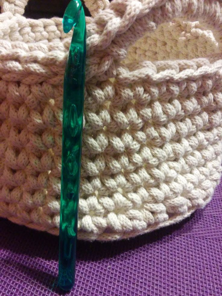 Yes, it's a crochet basket. Love these colours and sc rows!