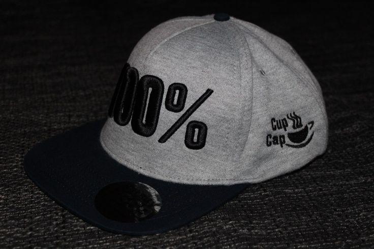 """Cup Cap Motiv """"100%"""" Jersey Snapback grau schwarz. Marke CupCap. 3D Stickerei. 3D Cap"""