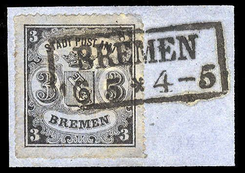 Old German States Bremen, Michel 6x, Scott 9. 1864 3gr black on blue green, vertically laid paper, cancelled on piece, boxed Bremen datestamp, v.f., signed Engel and Dr.Fischer, BPP (Mi.6x) (Catalog value €900)
