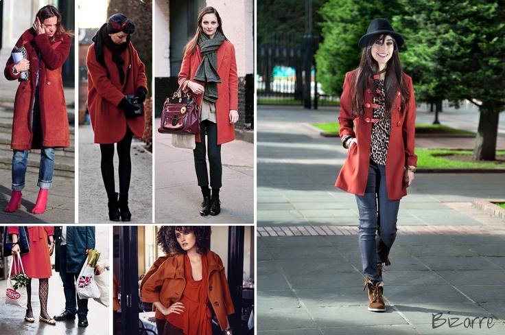 coat, burned orange, fashion, street style