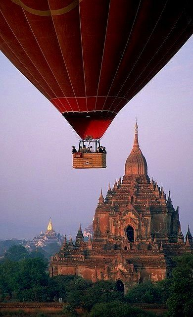 Bagan, Myanmar. This is truly awesome!! I would love to take a balloon ride over Bagan.