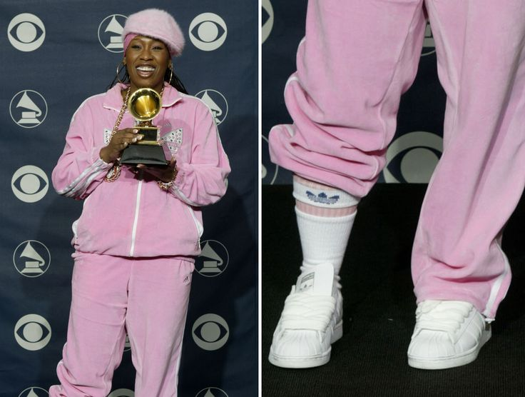 WORST EVER GRAMMY FASHION DISASTERS §§ MISSY ELLIOTT The pink Adidas tracksuit with white sneakers worn by Elliott at the 2003 Grammy's were definitely not red carpet-worthy. © PETER MORGAN/Newscom/Reuter