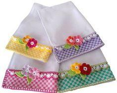 flores de croche em panos de prato - Pesquisa Google