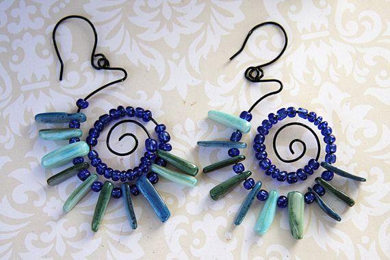 Blue Spiral Earrings, Blue Beaded Hoop Earrings, Blue Wire Wrapped Earrings, Funky Blue Spiral Earrings, Summer Jewelry