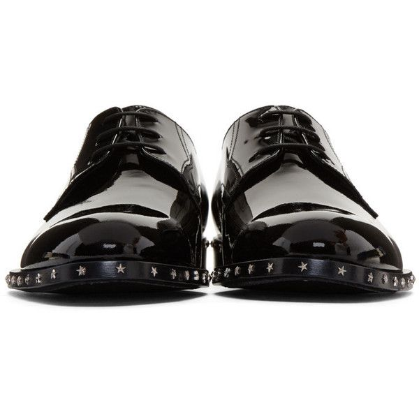 Jimmy Choo Black Patent Axel Derbys (15,050 THB) ❤ liked on Polyvore featuring men's fashion, men's shoes, men's oxfords, shoes, mens lace up shoes, mens patent leather shoes, mens black lace up shoes, mens goodyear welted shoes and jimmy choo mens shoes
