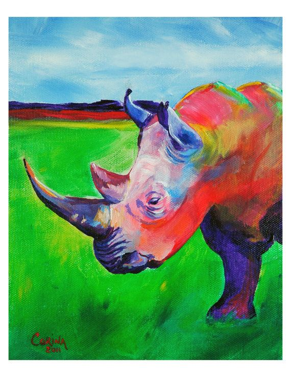 Rhino  Original Rhino PRINT 8 x 10  By Corina by CorinaStMartinArt, $15.00