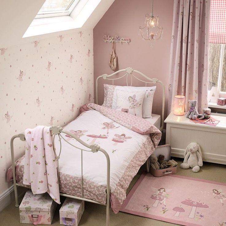 Girl Room Pink White Cream Beige Old Rose Bed With White Lacquered Bed Zimmer Madchen Kleinkind Zimmer Kinder Zimmer