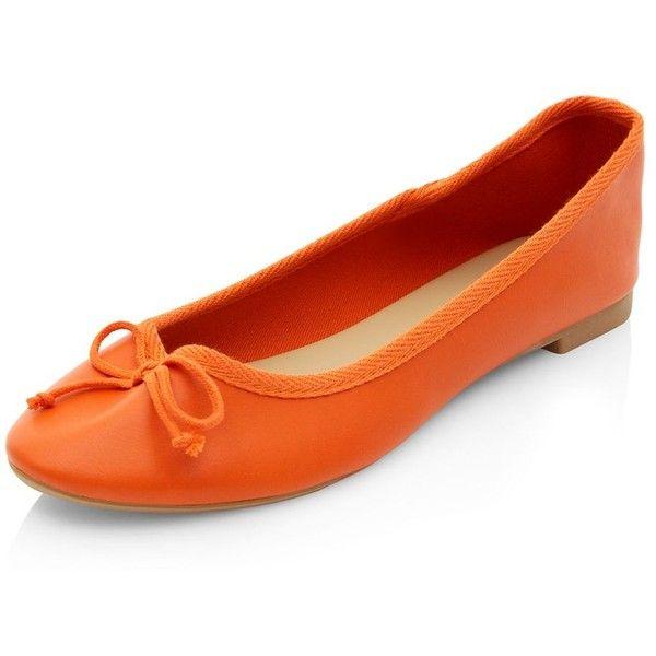 Orange Basic Ballet Pumps (16 RON) ❤ liked on Polyvore featuring shoes, pumps, orange, orange shoes, ballerina shoes, ballet shoes, ballerina flat shoes and round toe pumps