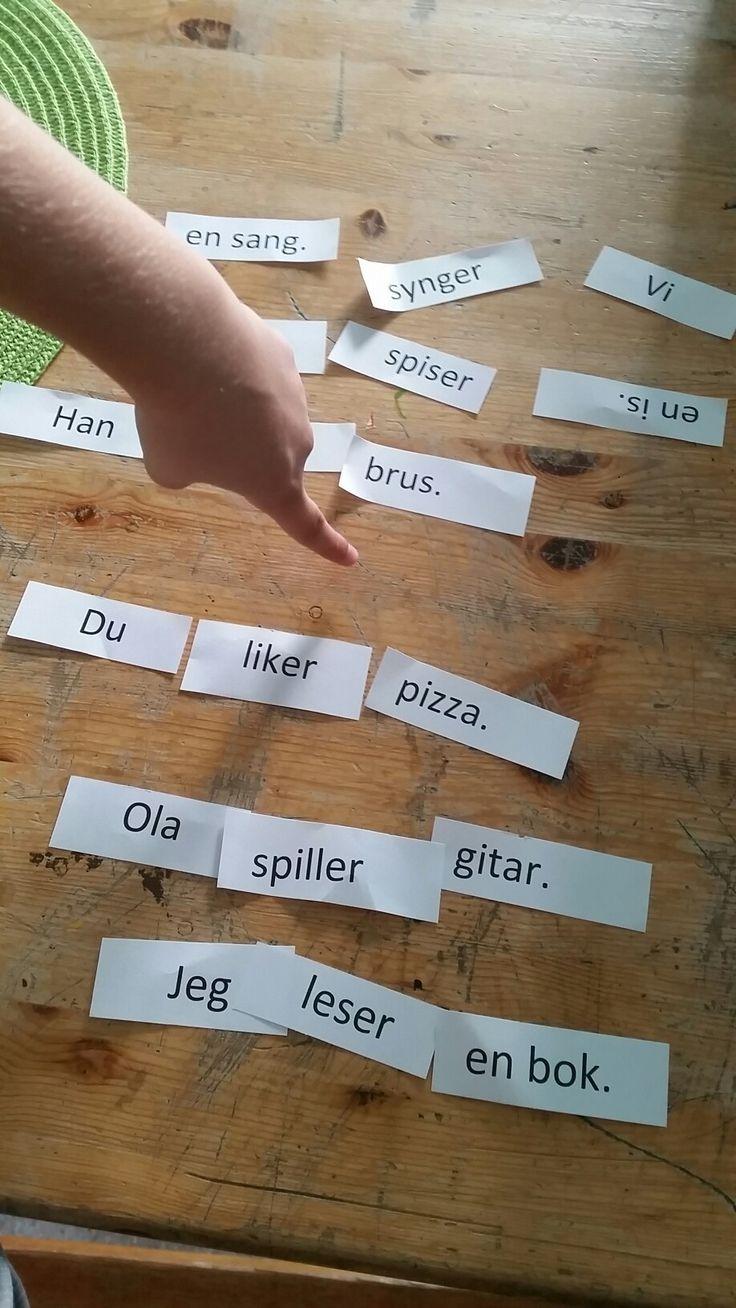 Setningslære. Paraktivitet: Elevene pusler sammen setninger som må ha mening.
