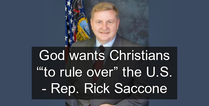 "Theocracy alert: Pennsylvania state Rep. Rick Saccone is running for the Senate because he believes God wants Christians '""to rule over"" the U.S."