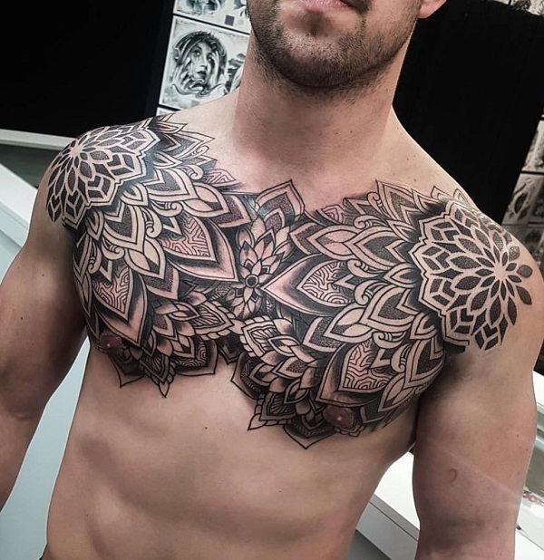 100 Nice Chest Tattoo Ideas Cuded Cool Chest Tattoos Chest Tattoo Men Mandala Chest Tattoo