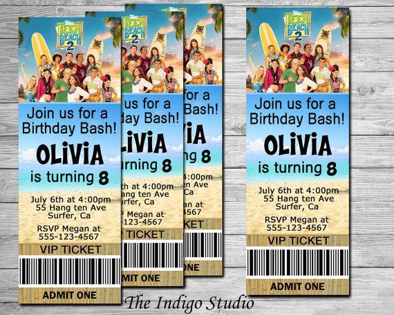 2015 New Teen Beach 2 Invitation Movie Ticket by TheIndigoStudio