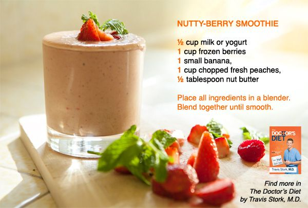 """Try this delicious smoothie recipe from """"The Doctor's Diet"""" by Dr. Travis Stork. sub almond milk"""