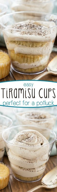 Easy Tiramisu Cups - they're perfect for a potluck! This simple tiramisu recipe uses easy to find ingredients and is packed to go in plastic cups. Genius!