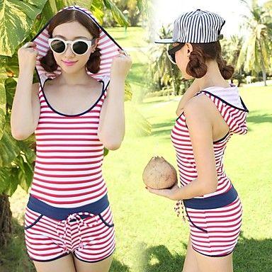 Elegant Fashion Women's Stripe One Piece Swimwear Swimsuit – USD $ 25.99