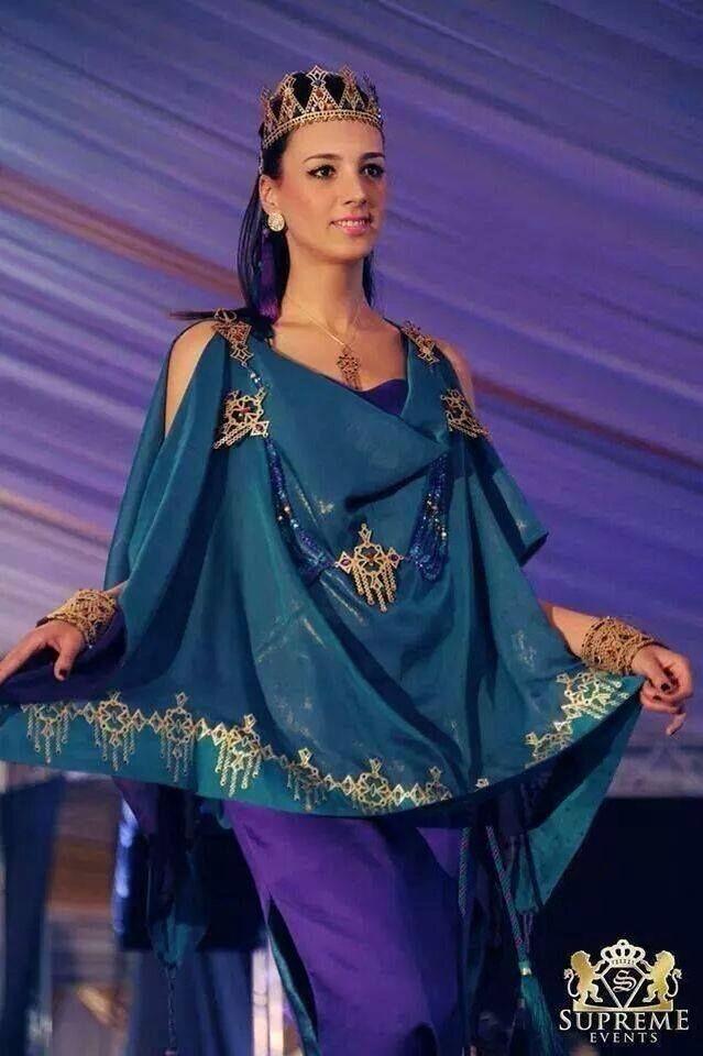 Algerian Fashion: turquoise and purple Chaoui dress