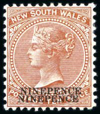 New South Wales 1899 NINEPENCE on 10d surcharge (2) showing varieties: double surcharge and another exsample with albino surcharge, both mint hinge remainder, very fine (SG £550)  Lot condition *  Dealer David Feldman S. A. Geneva  Auction Starting Price: 150.00 EUR