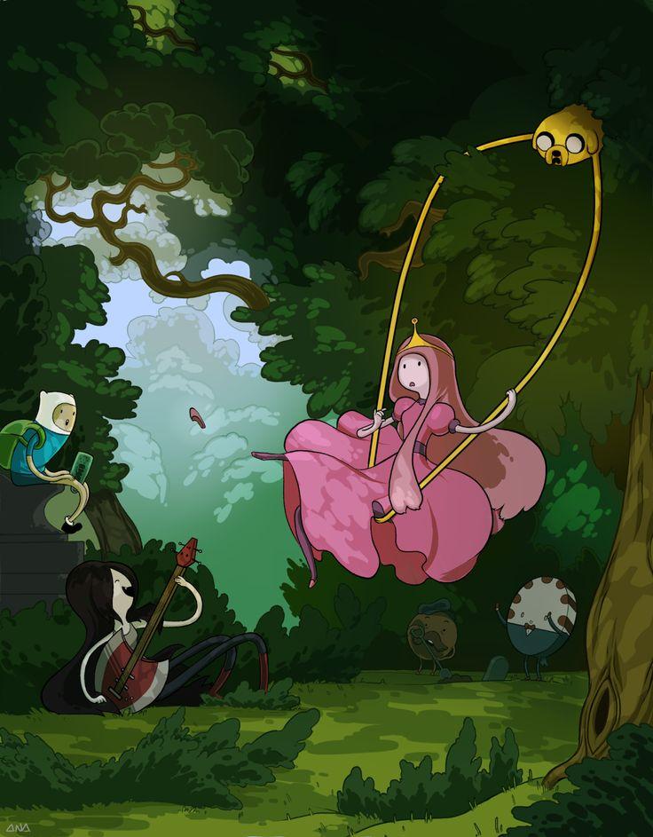 """Releitura de """"O Balanço"""" de Fragonard com as personagens de Hora de Aventura, por Ana Dapta."""