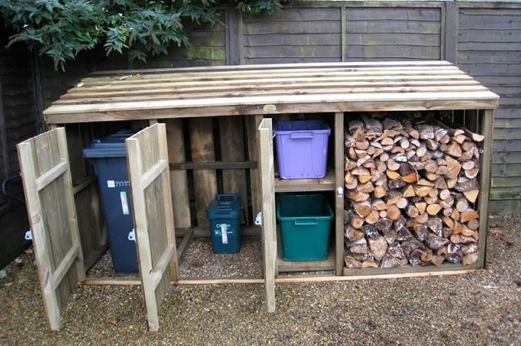 Wheelie Bin Store Combined Logstore - something similar would be good for bins in front garden
