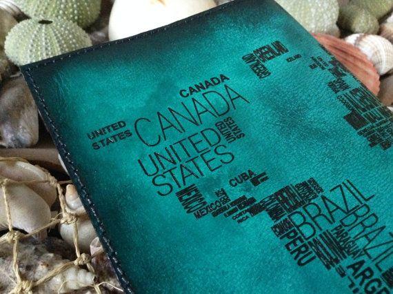 World Map Passport Holder Cover / Deluxe by HarrismaLeatherGoods