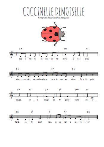 Téléchargez la partition gratuite de la chanson Coccinelle demoiselle , Chanson pour enfants avec accords de guitare Chanson traditionnelle.