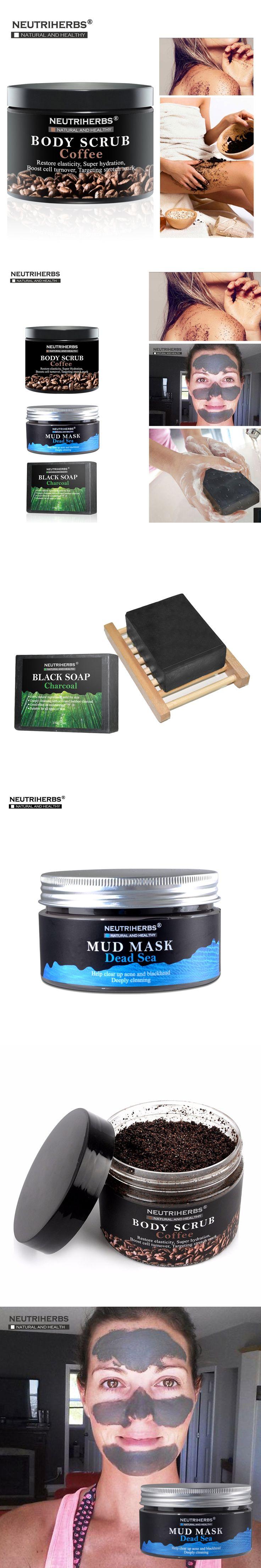 Coconut Coffee Body Scrub Cream Whitening Charcoal Handmade Soap Dead Sea Mud Face Black Blackhead Remover Mask 3 in 1 Set