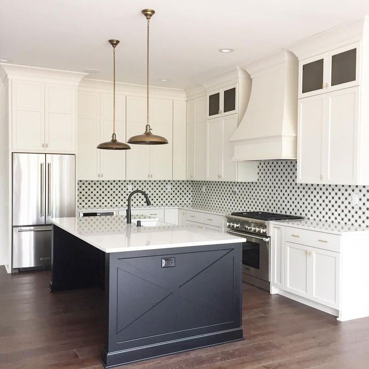 Black And White Kitchen With Cement Tile Backsplash