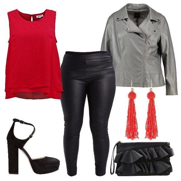 Outfit+per+una+serata+di+festa,+composto+da+leggings+nero+in+ecopelle,+abbinato+al+top+doppio+con+scollo+tondo+color+rosso,+giacca+in+pelle+color+grigio+con+colletto+a+bavero,+chiusura+con+cerniera,+tasche+e+bottoni+a+pressione+a+vista.+Décolleté+Mary+Jane+con+tacco+alto,+largo+e+punta+tonda,+pochette+con+volant,+orecchini+pendenti+color+rosso.
