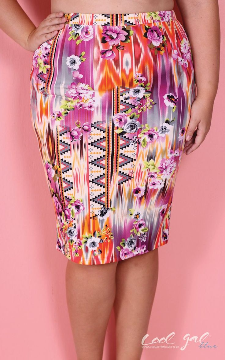 Cool Gal Blue Floral Tribal Print Skirt - Red (Sizes 14 - 16)