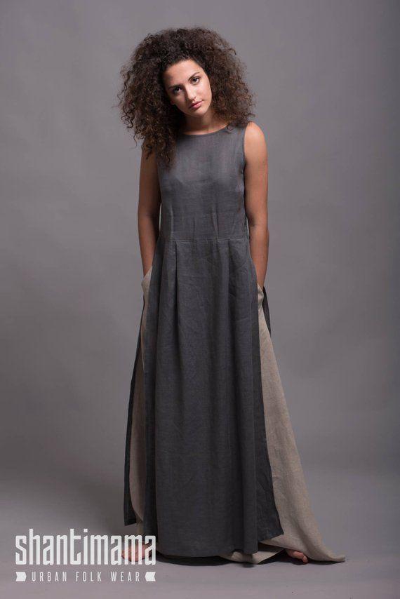 Long Gray Linen Tunic Dress NERO Light Linen Summer Dress  c4bc7131f